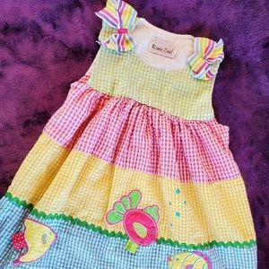 Girls rainbow gingham dress